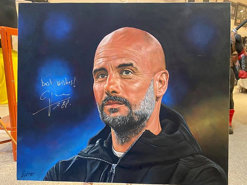 Pep Guardiola Signed Oil Painting