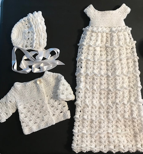Handmade Crochet Baptism Outfit