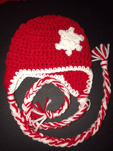 Red and White Snowflake Hat