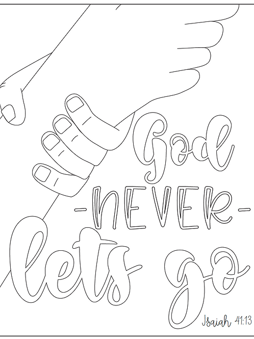 God Never Lets Go Coloring Page