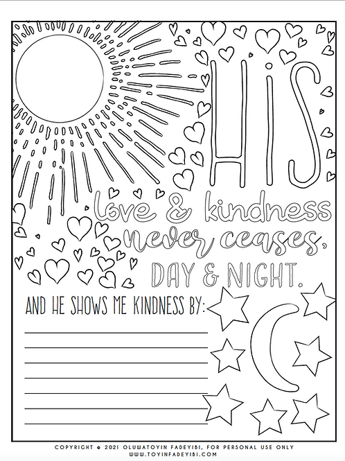 Unfailing Love Journal & Coloring Page