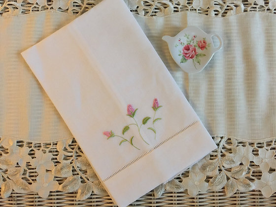 Embroidered Roses Guest Towel