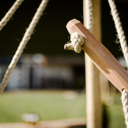 Set of guy ropes with wooden tensioners