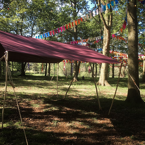 Woodsman's Awning with Burgundy canvas