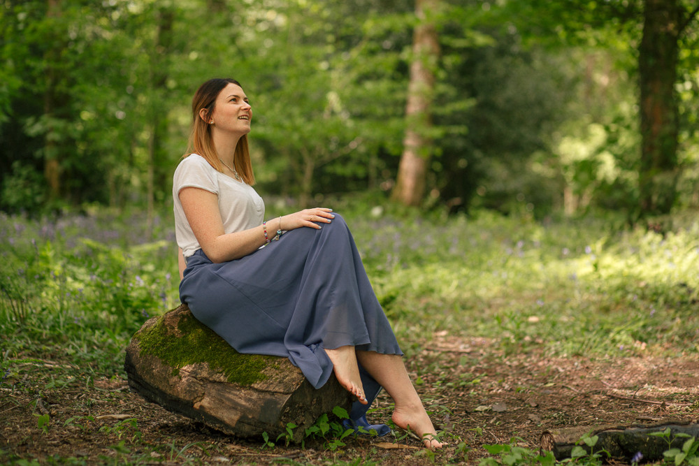 Woman, beauty photography session in the bluebells woods, Penllergaer