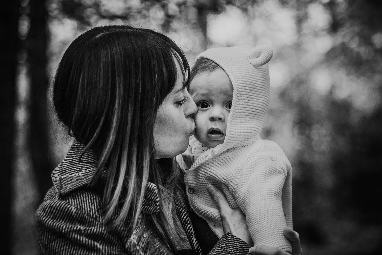 Outdoor family photography of a mother and baby in Penllergaer Woods, Swansea