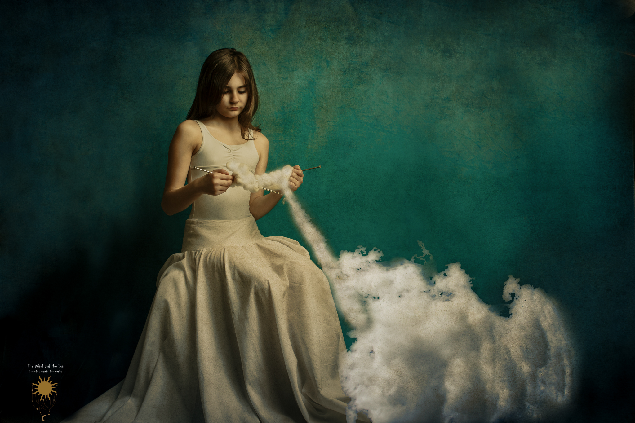 Fine art photo of a girl knitting clouds
