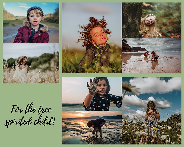 Collage of outdoor photographs of free spirited children taken around LLanelli and Swansea