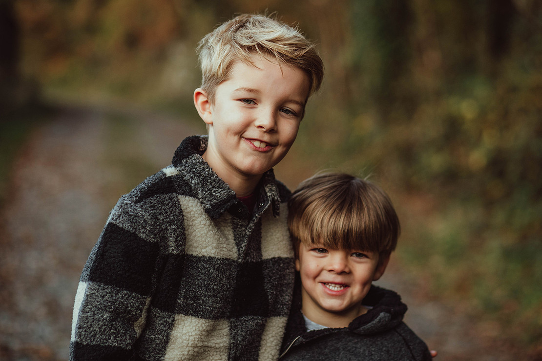 Portrait of two brothers in Autumn, Furnace Pond, Llanelli