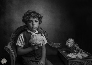 Boy with peonies