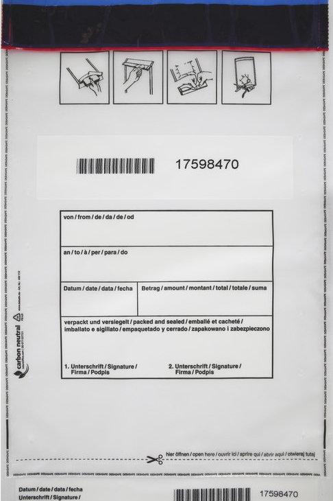 SafeBag, 220 x 340 + 30 (Bon), 90μ, transparent, 500 Stück