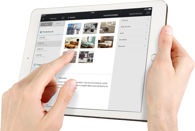 Hands holding a tablet displaying the VistoriaSiples app