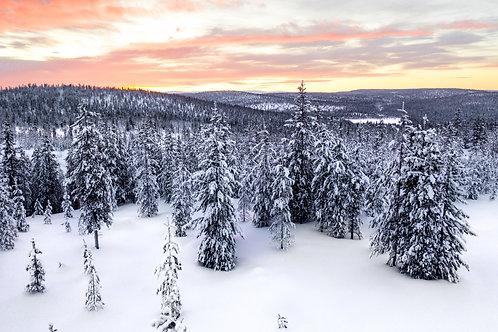 Закат в Лапландии,Финляндия