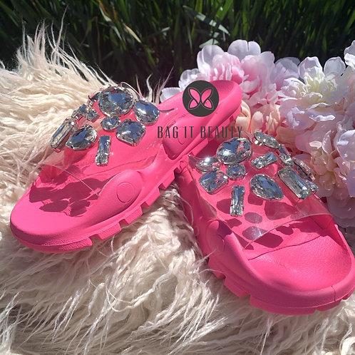 """""""Pretty Pedi"""" Luxury Slides in Neon Pink"""