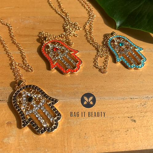 Beads and Crystal Hamsa Necklace