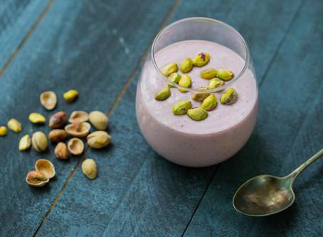 Mousse rosa com pistachios