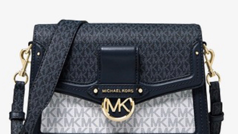Michael Kors Jessie Medium Two-Tone Logo Shoulder Bag