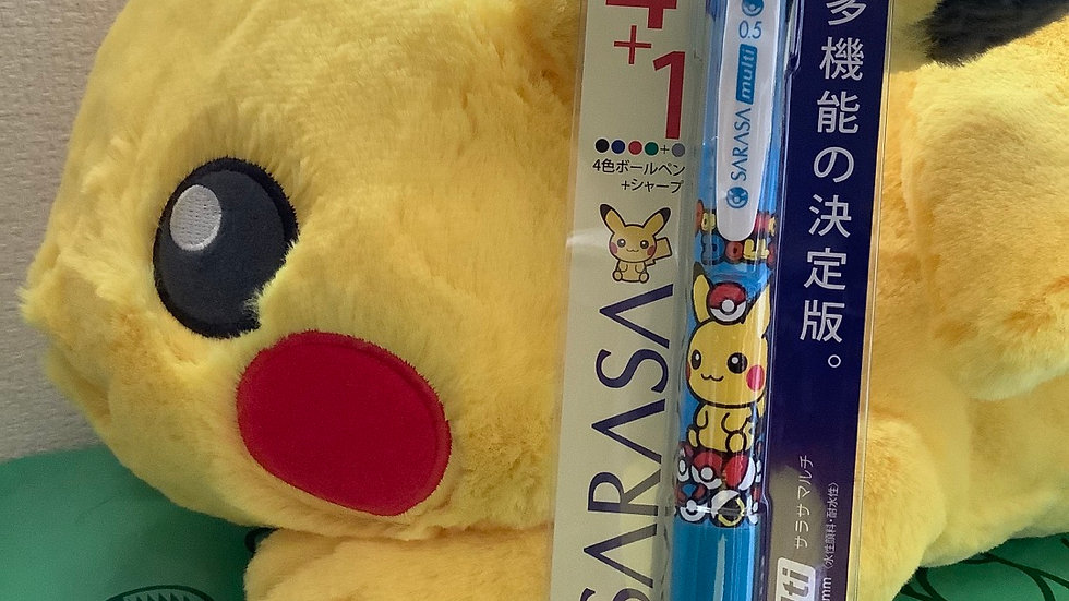 Fluffy hugging plush toy pikachu with sharp and ballpen in tri colors