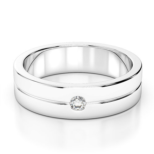 Single Tone Diamond Wedding Band
