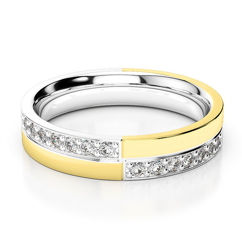 Duo Tone Diamond Wedding Band