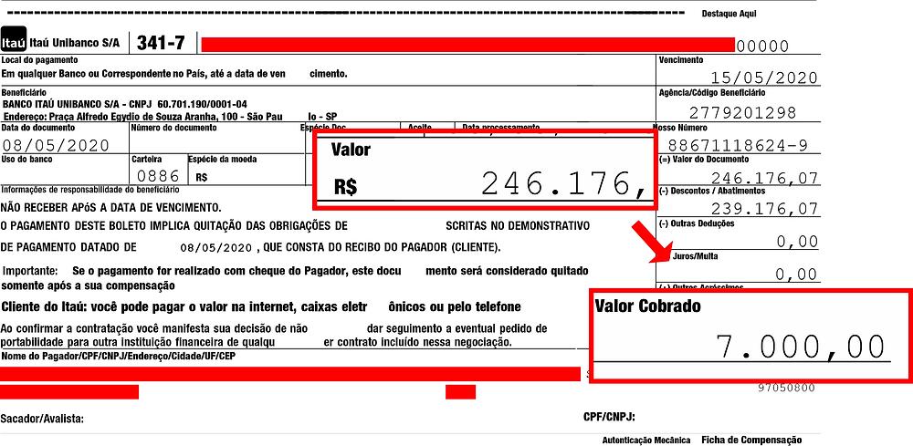O nome e o CNPJ do cliente, além do código de barras do boleto, foram omitidos por questões de segurança