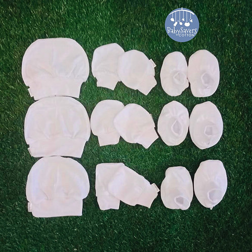 Newborn white cotton 9pcs essentials set