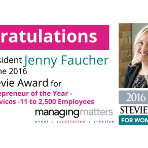 Jenny Faucher Wins Silver Stevie® Award in 2016 Stevie Awards for Women in Business