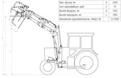 Схема погрузчика с удлиненной стелой