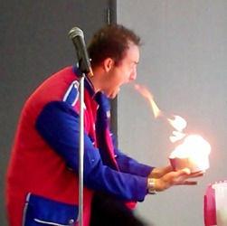 Silly Simon on fire!