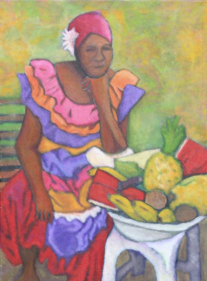 Obstverkäuferin in Pose II