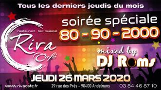 # Soirées Années 80, 90, 2000 ! # - Riva Café - 26/03/2020