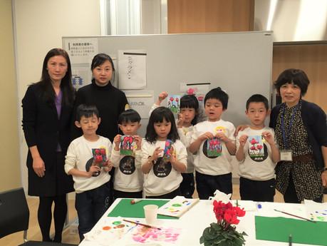 12/1(木)中国武漢MUMA美術教室がリフレッシュプラザ柏くりくりに、ついにやってきました!ほんとうに楽しい制作交流会でした。午前はパレット柏でえてがみ講習会~お昼はリフレ柏喫茶室ココにて手つくりラ