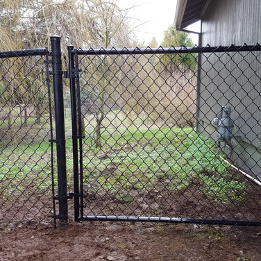 residential black chain link fence