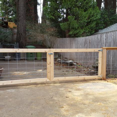 welded wire gates boxed in cedar