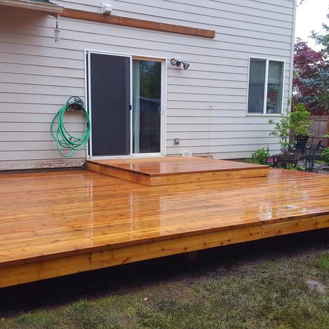 split level treated deck