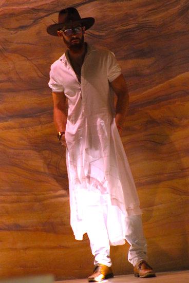 DBC Tuxedo Dress Shirt Dress (Full/White)