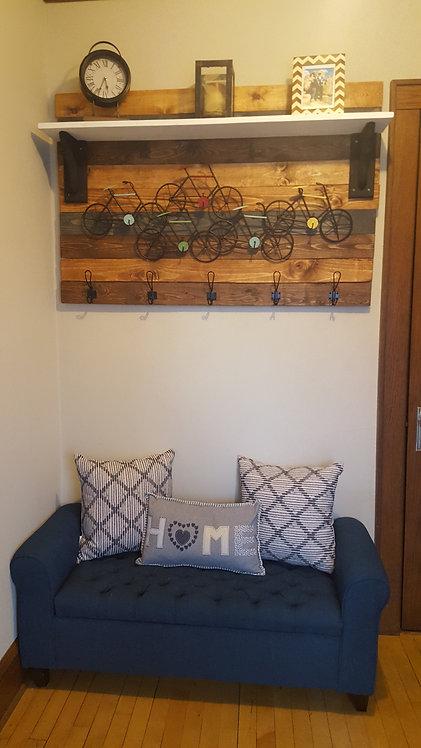 Shiplap Entryway Coat Hooks & Shelf