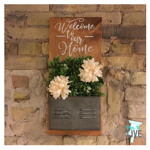Welcome to Our Home Metal Planter