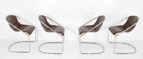 Minotti Cortina Chairs in Brown Leather by Gordon Guillaumier