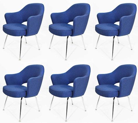 Eero Saarinen Executive Armchair in Blue Raf Simons Upholstery