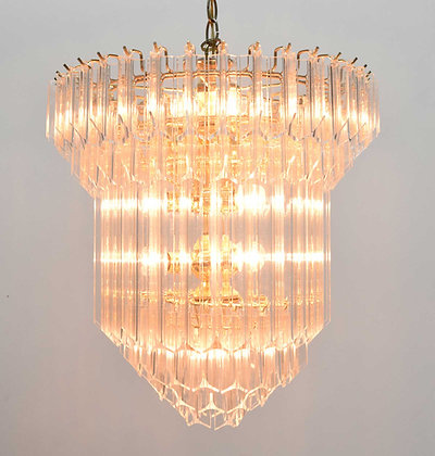 Large Lucite Chandelier, Six Tiers, 1960s