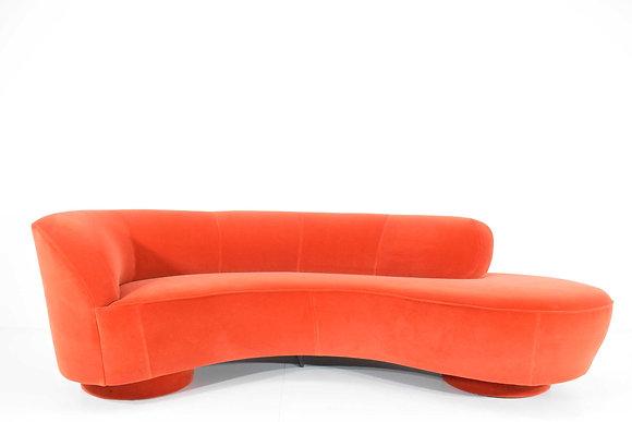 Vladimir Kagan Curved Serpentine Cloud for Sofa in Red/Orange Cotton Velvet