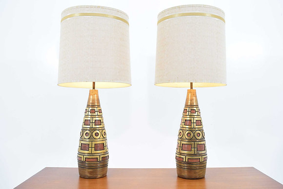Fortune Lamps, dtd. 1959, in Gold and Terracota Geometric Pattern