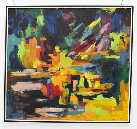 Mid Century Modern Oil on Canvas in Vibrant Blues, Yellow, Greens, dtd 1967