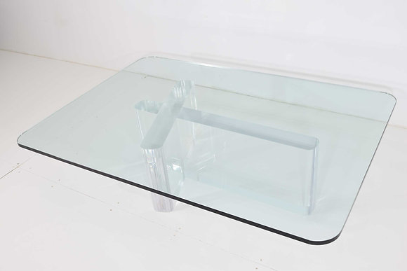 Lion in Frost Signed Thick Lucite Cocktail Table