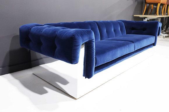 Milo Baughman Button Tufted Chrome Sofa in a Blue Velvet from France
