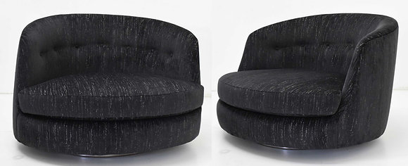 Milo Baughman Oversized Swivel Satellite Chairs, Black Cut Velvet, 1970s
