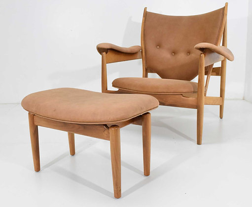 Finn Juhl Chieftain Chair and Ottoman by Baker