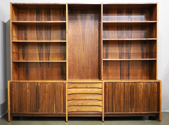 Large Mid Century Modern Rosewood Bookcase and Storage Cabinet