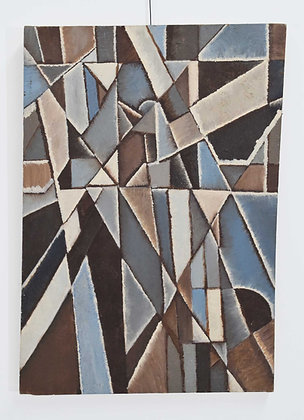 Mid-Century New York School Abstract Modernist Cubist Oil Painting, 1960s